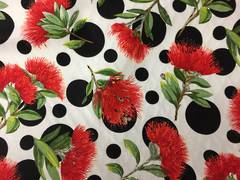 Kiwiana Print - Pohutukawa and dots
