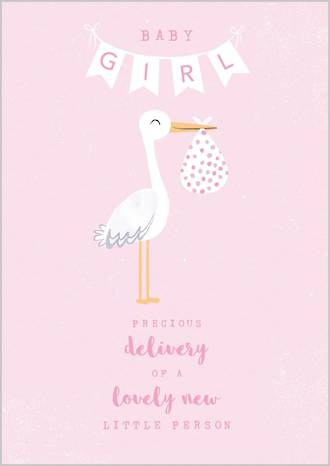 Baby Card Girl Stork Delivery