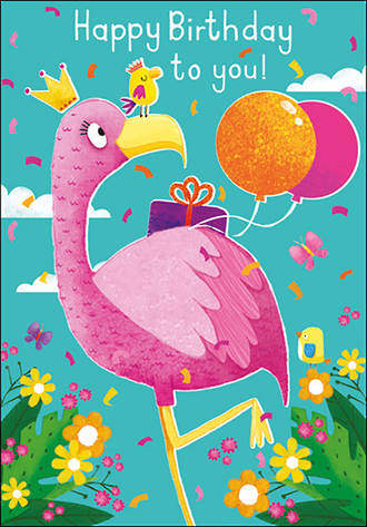 Kids' Birthday Card Girl 100% Kids Flamingo