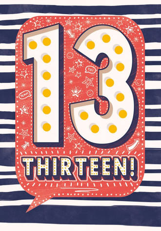 Birthday Age Card 13 Boy Speech Bubble
