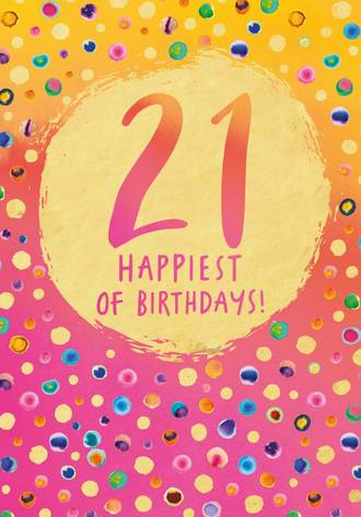 Birthday Age Card 21 Female Lux Dots