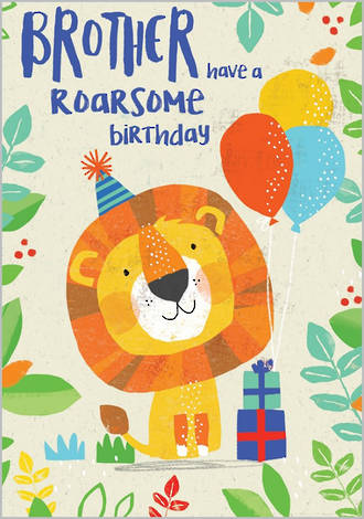 Brother Birthday Card 100% Kids Roarsome