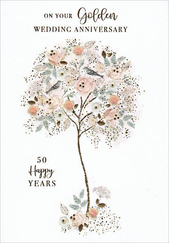 Anniversary Card 50th Gold Belgravia Anniversary