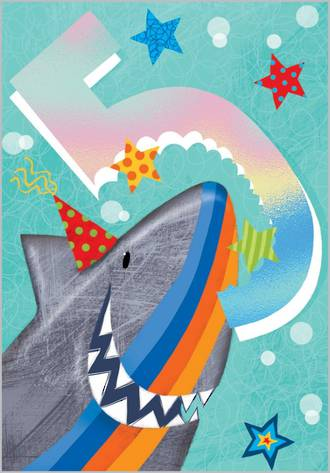 Birthday Age Card 5 Boy Party Shark