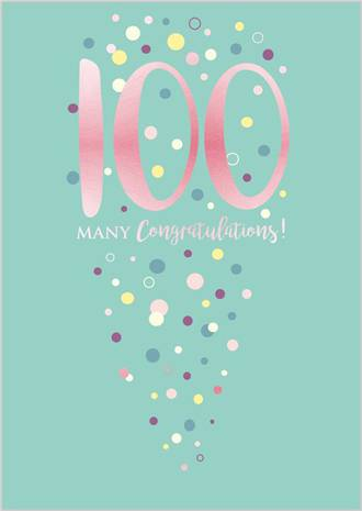 Birthday Age Card 100 Female Life & Soul