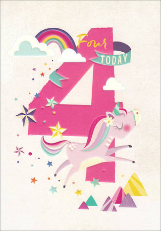 Birthday Age Card 4 Girl 100% Kids Unicorn