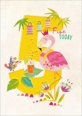 Birthday Age Card 5 Girl 100% Kids Flamingo