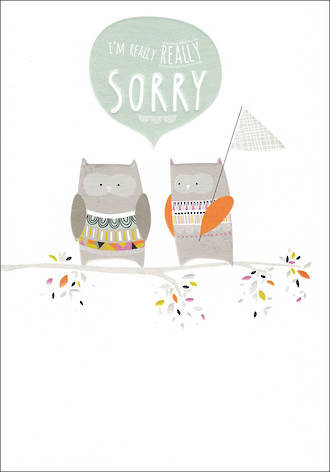 Sorry Card Really Really Sorry Owls