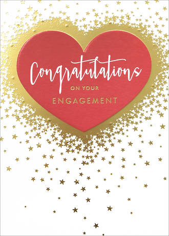 Engagement Card Heart & Stars