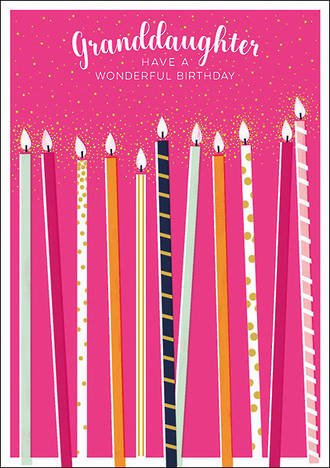 Grandaughter Birthday Card Candles Pink