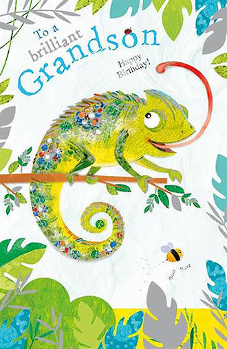 Grandson Birthday Card Jojos Jungle Lizard