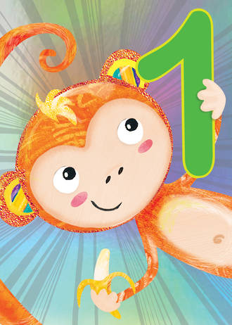 First Birthday Age Card 1 Boy Jojo's Jungle Monkey