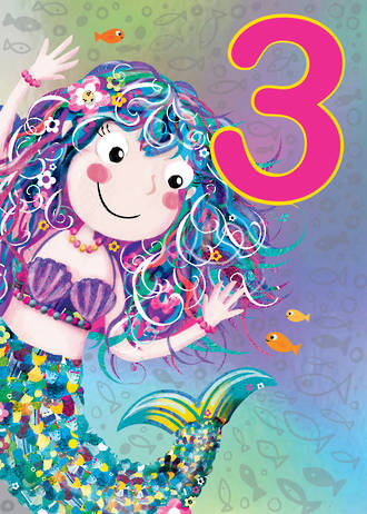 Birthday Age Card 3 Girl Jojo's Jungle Mermaid