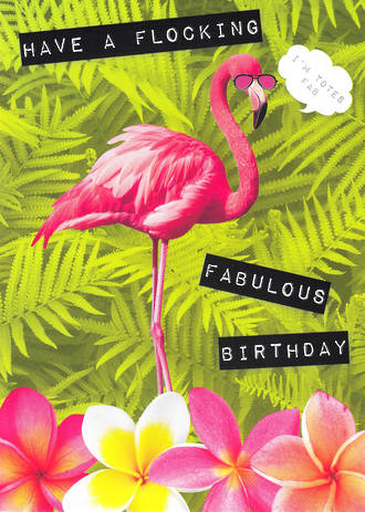 Ticker Tape Birthday Fab Flamingo