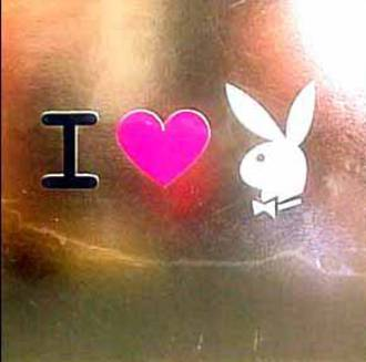 Blank Card Typographic Playboy Square I Love Bunny