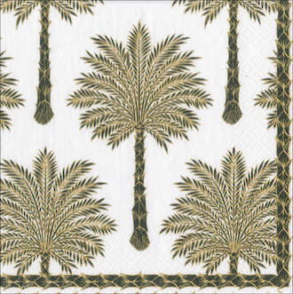 Lunch Napkins Caspari Grand Palms Black