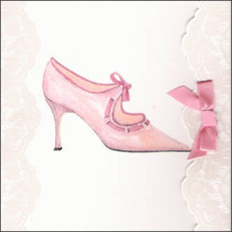 Blank Card Female Fashion Pink Shoe