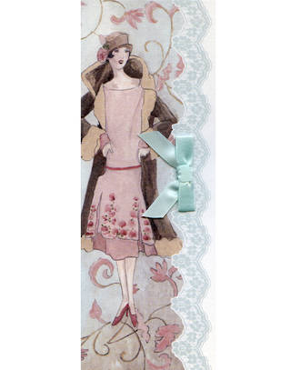 Blank Card Female Parisian Lady in Pink