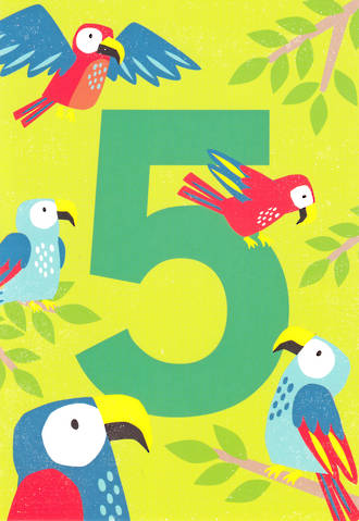 Birthday Age Card 5 Boy Tiger Tail Parrots