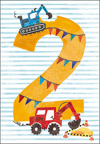 Birthday Age Card 2 Boy Diggers