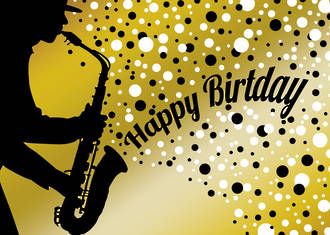 Black & White Birthday Saxophone