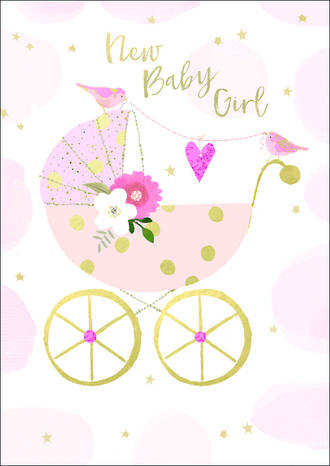 Baby Card Girl Bubbly Pink Pram
