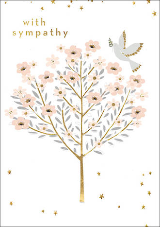 Sympathy Card Charming Dove And Tree