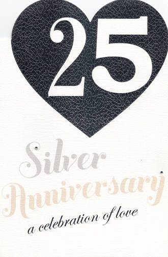 Anniversary Card 25th Silver Silver Heart