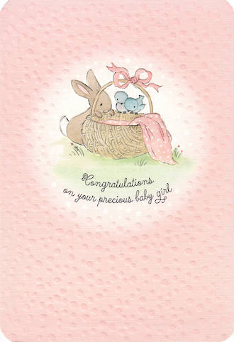 Baby Card Girl Basket Pink