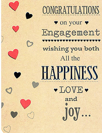 Engagement Card Hallmark Red And Silver Hearts