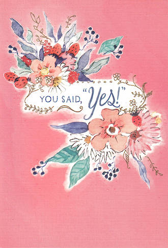 Engagement Card Hallmark You Said Yes Pink