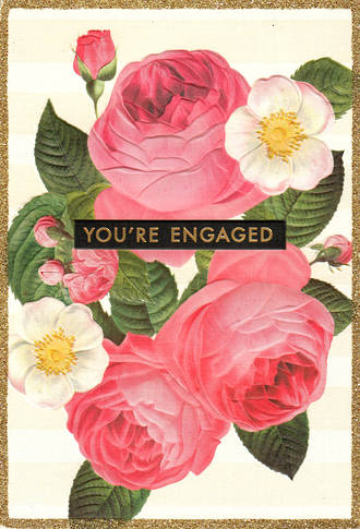 Engagement Card Hallmark Embossed Roses
