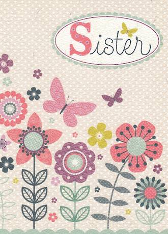 Sister Birthday Card Flowers Butterfly Dots