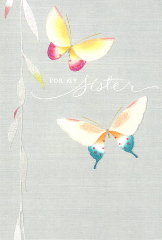 Sister Birthday Card Hallmark Large Butterflies