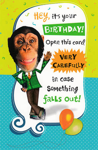 Hallmark Humorous Birthday Card: Monkey In Suit Waving