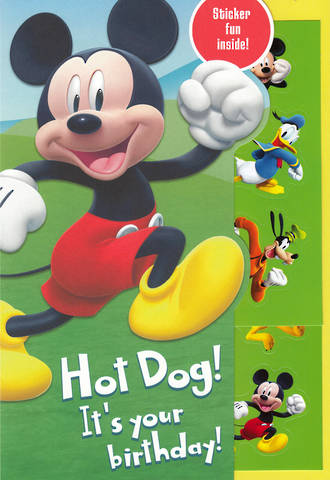 Kids' Birthday Card Boy Mickey Mouse Hotdog