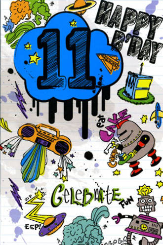 Birthday Age Card 11 Boy Robots