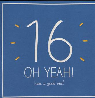 Birthday Age Card 16 Male Happy Jackson Oh Yeah