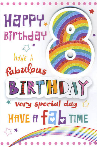 Birthday Age Card 8 Girl Fab