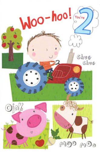 Birthday Age Card 2 Boy Tractor Farm