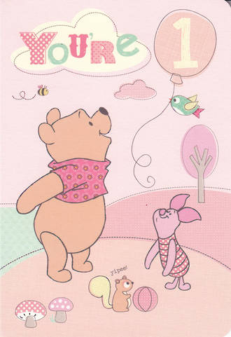 First Birthday Age Card 1 Girl Winnie The Pooh
