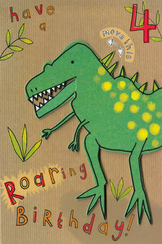 Birthday Age Card 4 Boy Dinosaur