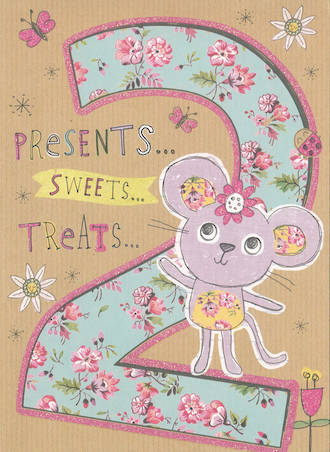 Birthday Age Card 2 Girl Mouse Flowers