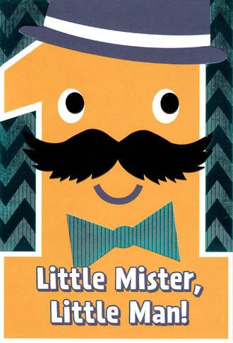 First Birthday Age Card 1 Boy Little Mister
