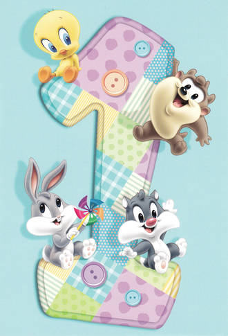 First Birthday Age Card 1 Boy Looney Tunes