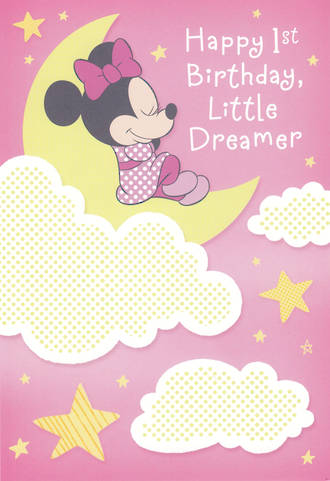 First Birthday Age Card 1 Girl Minnie Mouse Dreamer