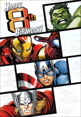 Birthday Age Card 8 Boy Avengers