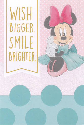 Kids' Birthday Card Girl Minnie Wish Large