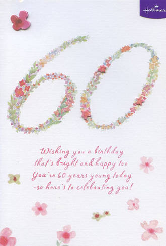 Birthday Age Card 60 Female Watercolor Flowers