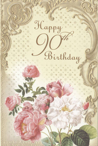 Birthday Age Card 90 Female Formal Flowers